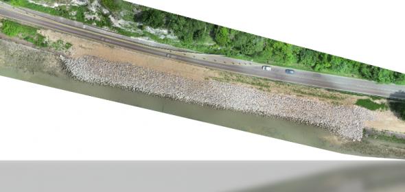 orthophoto par drone, relevé par drone après travaux des berges de la Seine