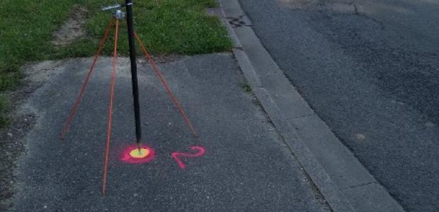 Mise en place de points de références par GPS à Vernon, dans l'Eure