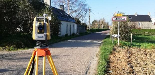 Mesure terrestre de topographie sur le secteur de Crépon autour de Caen